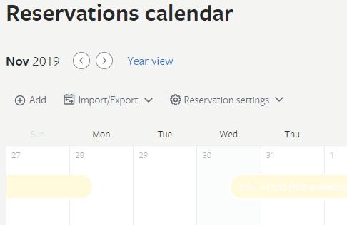 Airbnb hosting calendar